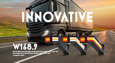 W168.9 - the first rubber arms with lights: position/clearance lamps: front, side, rear, stop, reverse, fog, side and rear indicator, available in static or dynamic version