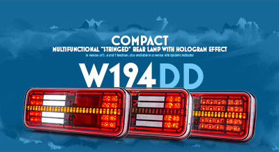 W194DD Compact multifunctional 'stringed' rear lamp with hologram effect in versions of 3, 4 and 5 functions, also available in a version with dynamic indicator
