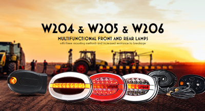 Series W204 & W205 & W206 Multifunctional front and rear lamps with three mounting methods and increased resistance to breakage